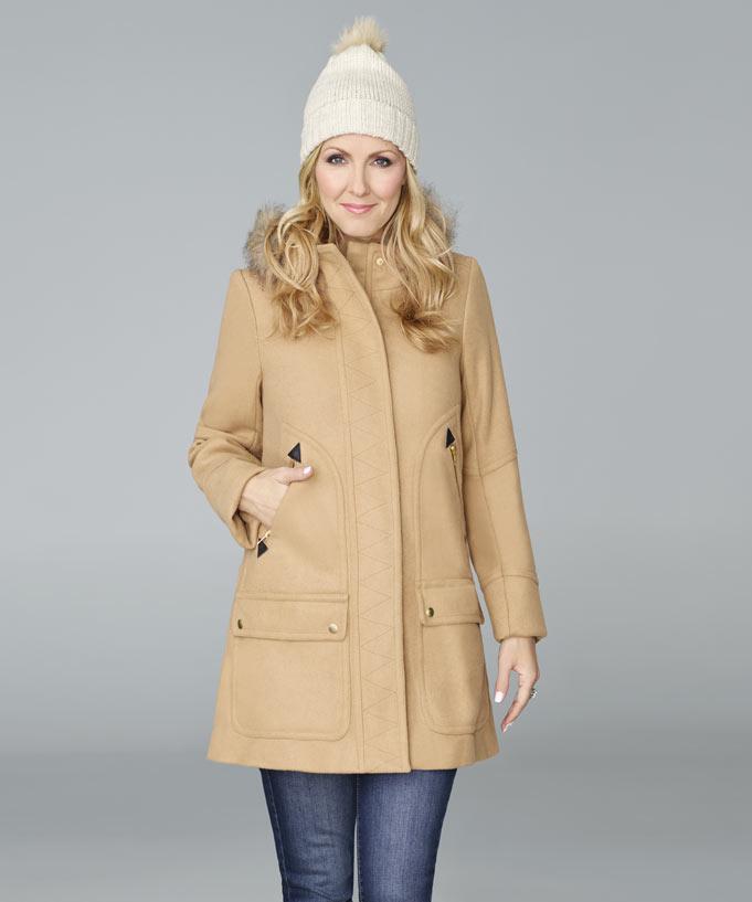 Manteau feutre beige femme