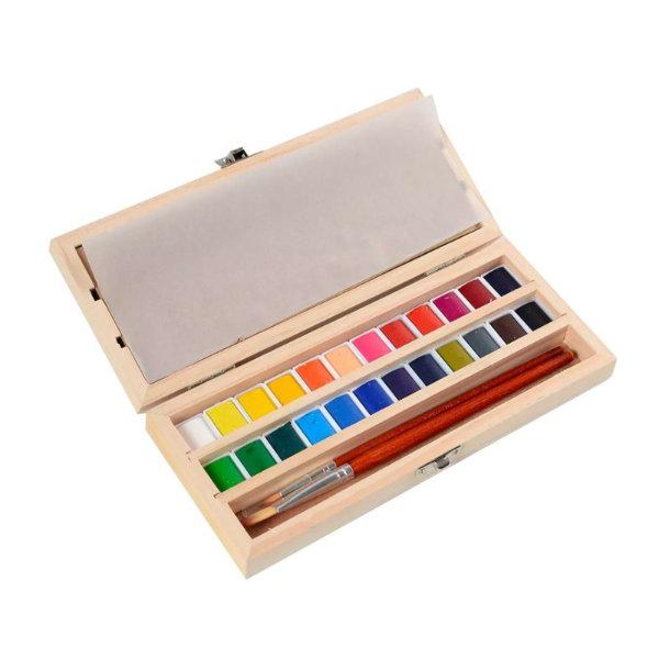 13-Boîte d'aquarelles (24 couleurs), Hand Made Modern