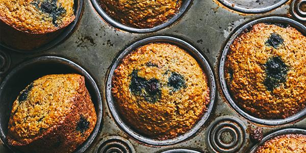 Muffins bleuets et son d'olive + gourmando