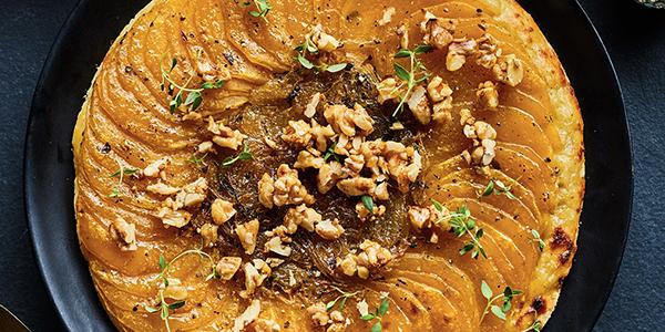 Tarte tatin salée à la courge, au beurre d'érable et à l'échalote, de Caroline Huard (Loounie)