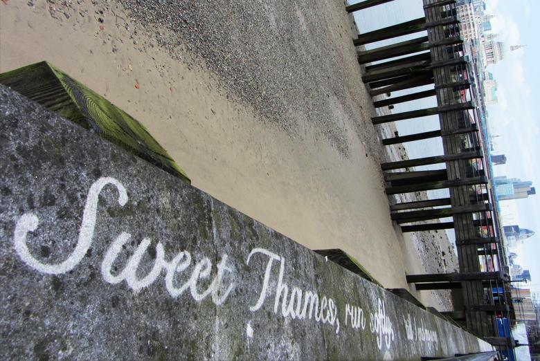 Thames Festival - T. S. Eliot Reverse Graffiti