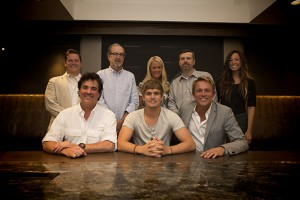 Pictured (L-R): Back Row – Iconic Entertainment's Brian O'Neil, BMLG's Malcolm Mimms, Allison Jones, Andrew Kautz & Iconic Entertainment's Ally Rodriguez Front Row – BMLG's Scott Borchetta, Levi Hummon & Iconic Entertainment's Fletcher Foster