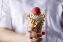 Onecolumn strawberry gelato vanilla bean ice cream waffle cone