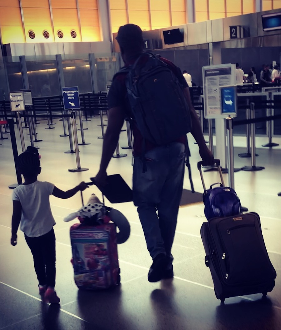 Airport travel with daughter and husband