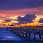 Deerfield Beach Fishing Pier at Sunrise Purple Colors
