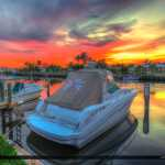 Boats at North Palm Beach Marina Sunset at Canal