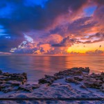 Beach Sunrise Over the Rocks in Tequesta Florida