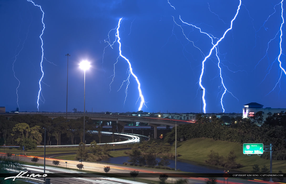 Lightning Strike Florida Highway Weather During Storm Royal Stock Photo