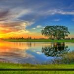 Royal Palm Beach Commons Park Sunset at Lake
