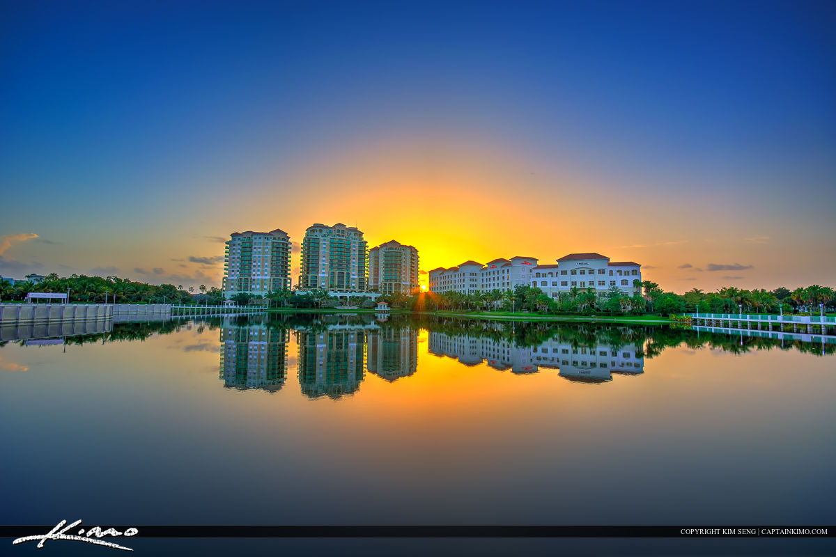 Sunrise At Palm Beach Gardens Downtown Hilton Hotel Royal Stock Photo