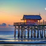 Cocoa Beach Pier Ocean Moon Rise Florida