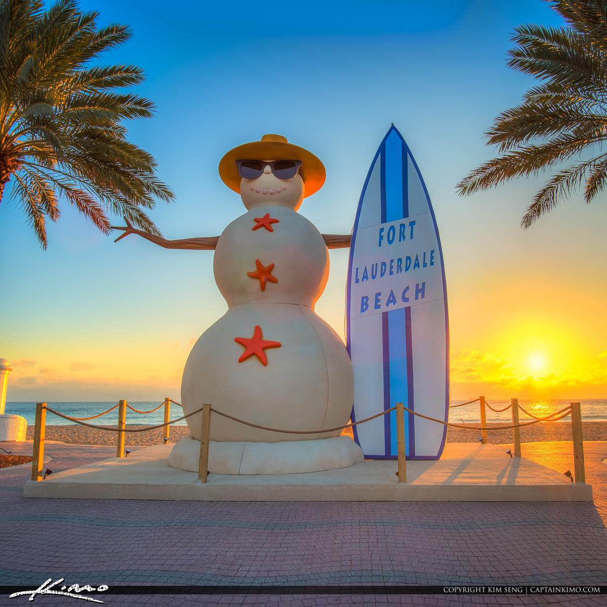 Snowman At Fort Lauderdale Beach Sunrise At Las Olas Blvd