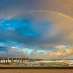 Beautiful Rainbow Over Juno Beach Pier Florida
