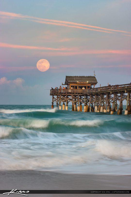 Cocoa Beach Pier Full Moon Rise