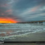 Jacksonville Beach at the fishing pier for sunrise