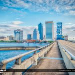 Jacksonville City Skyline sidewalk to the old Bluebridge