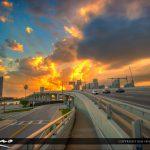 MacArthur Causeway I-395 HIghway Miami Florida Explosive Sunset