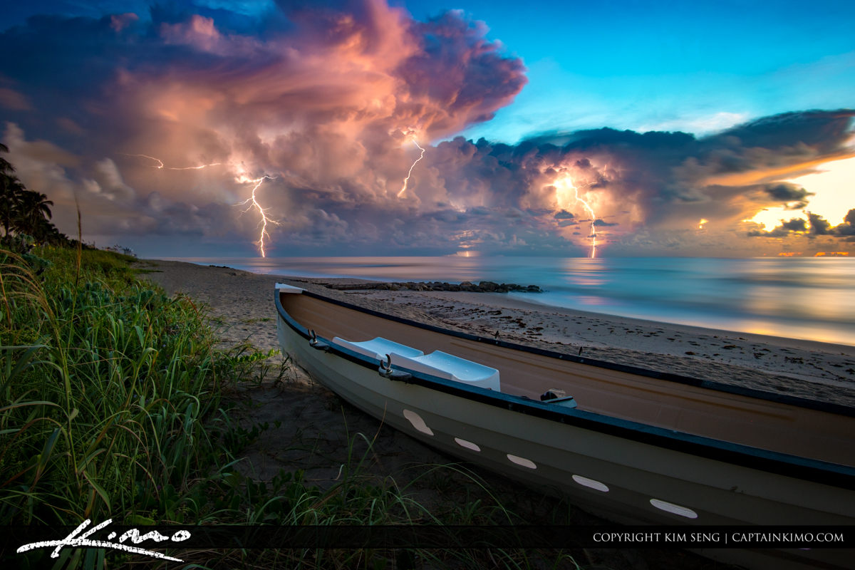 Beach In Storm Lightning: Seasons And Weather