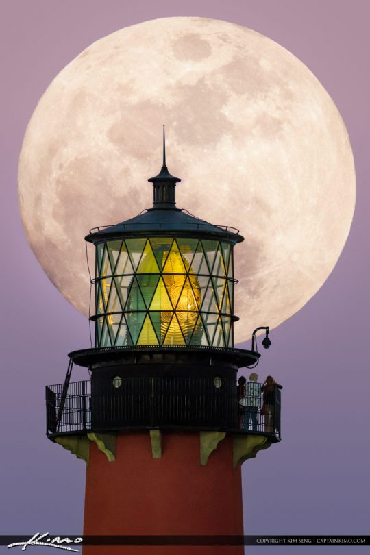 Big Moon Rise Jupiter Lighthouse