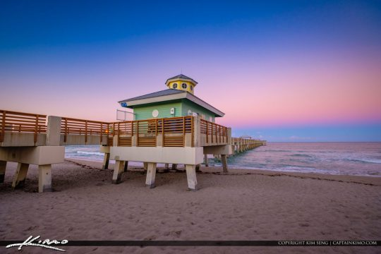 Juno Beach Pier Colors at Sunset East Horizon