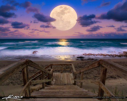 Coral Cove Park Moon Rise Jupiter Island Florida