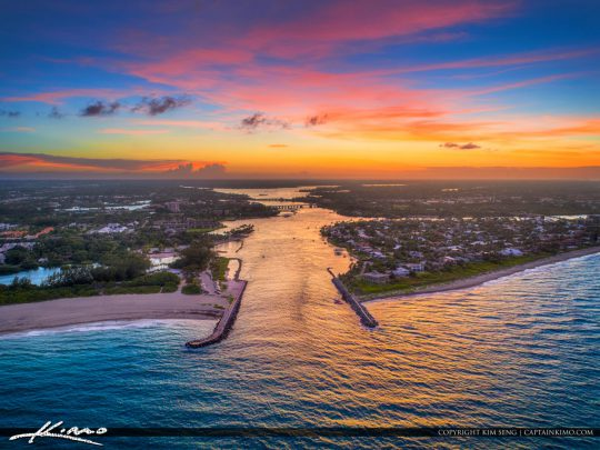 Sunset Jupiter Inlet Aerial Photography Palm Beach County Florid