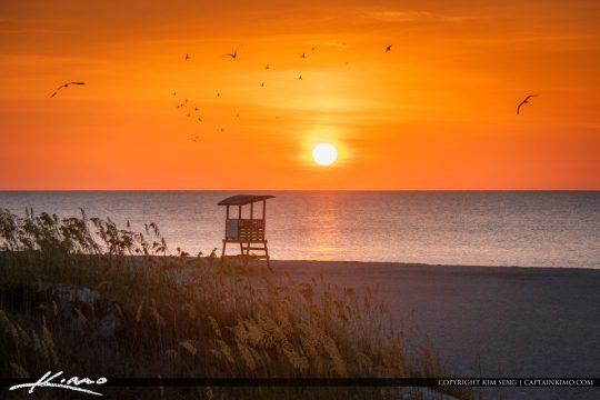 Savannah Georgia Tybee Island Sunrise at Beach
