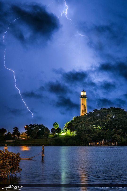 Lightning Over the Jupiter Inlet Lighthouse