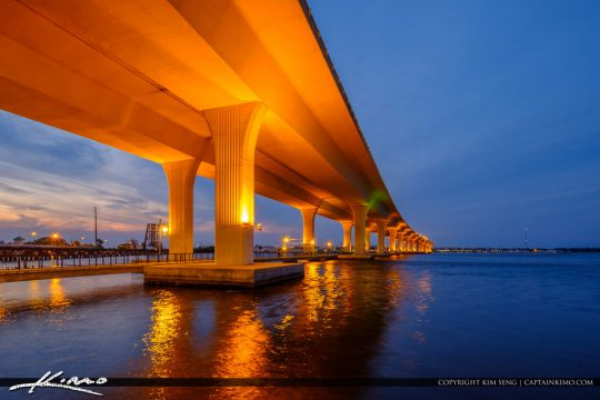 Roosevelt Bridge at Night With Lights St Lucie River
