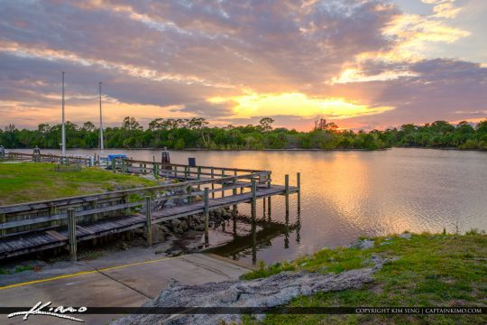 St Lucie Lock and Dam Sunset at Dock