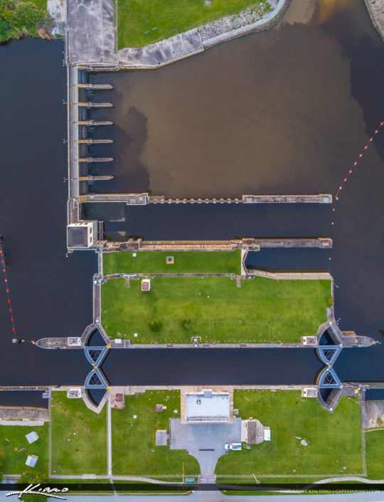 St Lucie Lock and Dam Aerial from Above