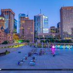 Nathan Phillips Square Toronto Canada Ontario Night Lights City