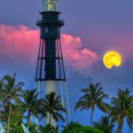 Full Moon Rise Hillsboro Inlet Lighthouse Pompano Beach Florida