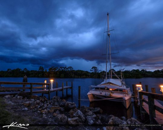 Stuart Florida Storm St Lucie River Loack and Dam Sailboat Docke