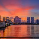 West Palm Beach Skyline Sunset Waterway