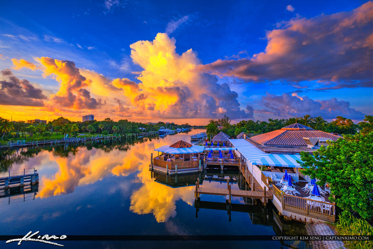 Waterway Cafe Palm Beach Gardens Epic Clouds Royal Stock Photo
