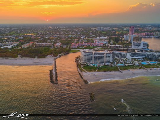 Lake Boca Raton Aerial Sunset at the Boca Inlet