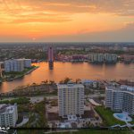 Lake Boca Raton Aerial Sunset From the Air Condo Waterfront