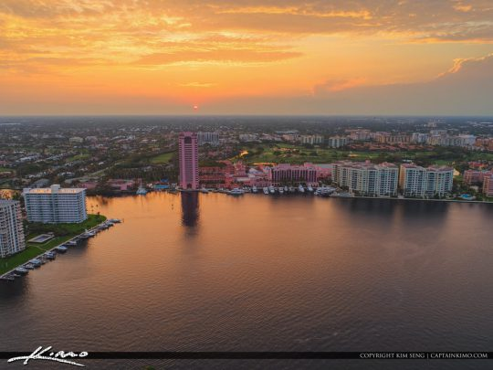 Lake Boca Raton Aerial Sunset Boca Resort and Spa Golf Course