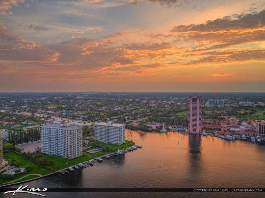 Lake Boca Raton Aerial Sunset Boca Resort and Spa