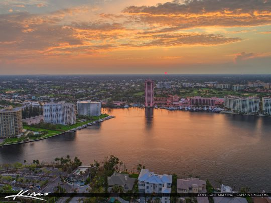 Lake Boca Raton Aerial Sunset Boca Resort and Spa