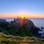 Dunluce Castle Northern Ireland Sunset Over Castle Ruins