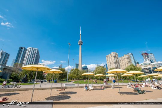 Beach Sand Yellow Umbrellas Waterfront Toronto Ontario Canada