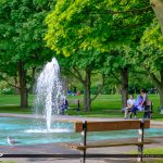 Bench at Waterfountain Centre Island Toronto Ontario Canada