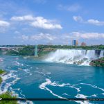 American Falls and Rainbow Bridge Niagara Falls ON Canada