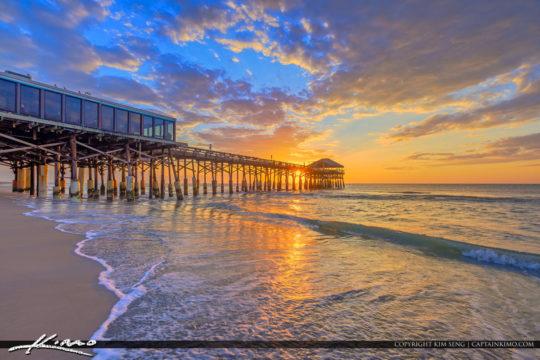Cocoa Beach Pier Cocoa Beach Florida Sunrise HDR photography