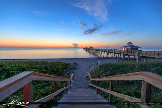 Juno Beach Pier Early Morning Blue Sunrise