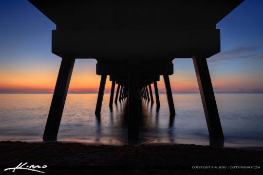 Sunrise from Under the Juno Beach Pier Florida