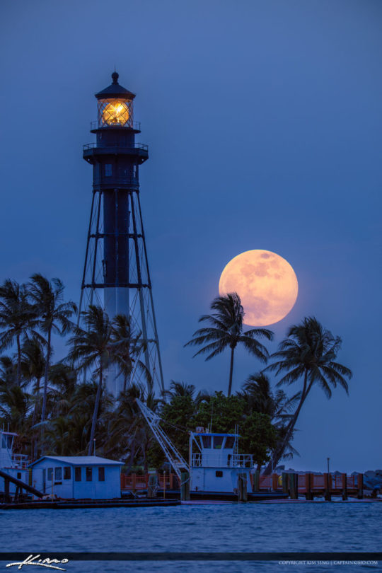 Hillsboro Lighthouse Strawberry Moonrise Pompano Beach Inlet