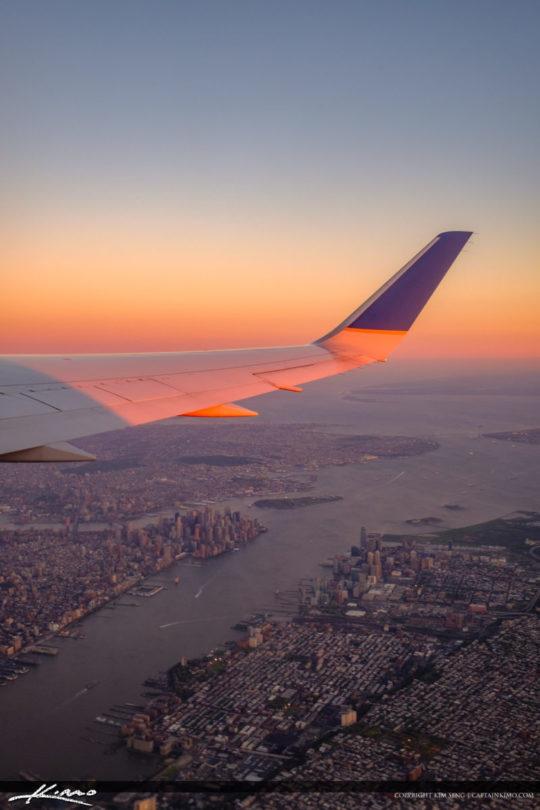 Airplane Wing Vertical New York City Below